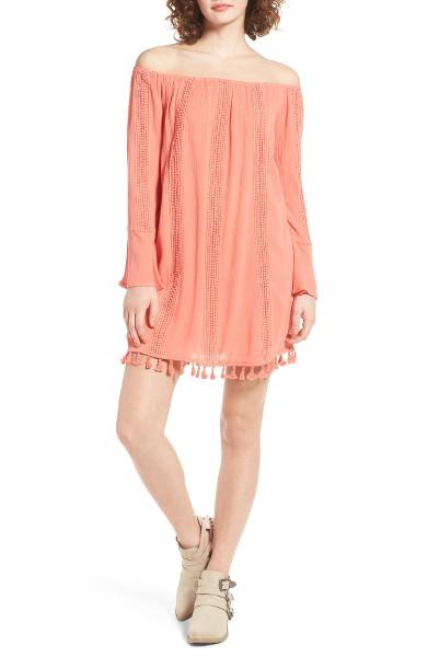 Dee Elly | Tassel Trim Off The Shoulder Dress