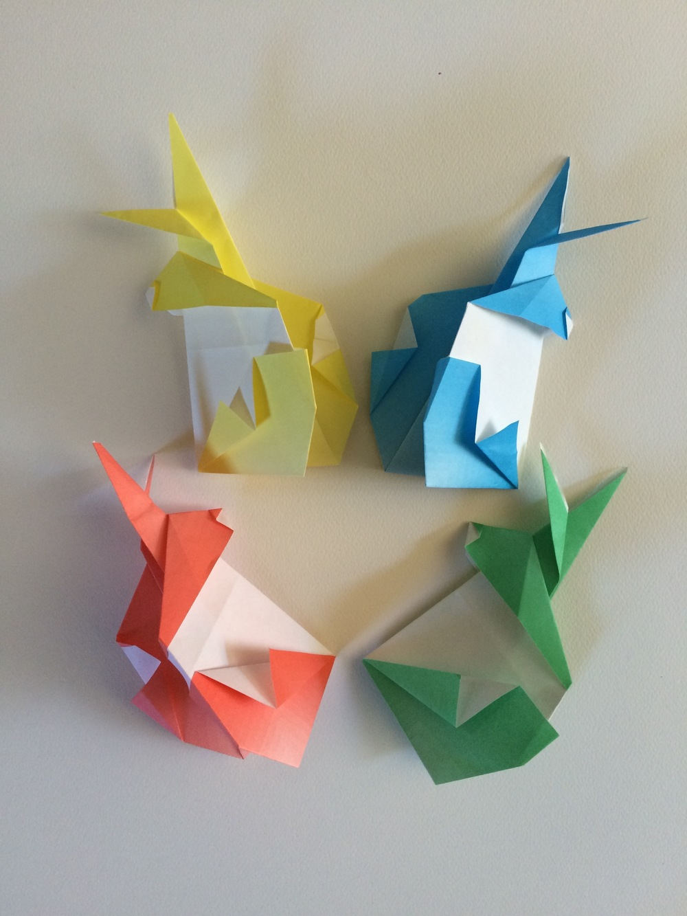 Origami rabbits in colors of the rainbow!