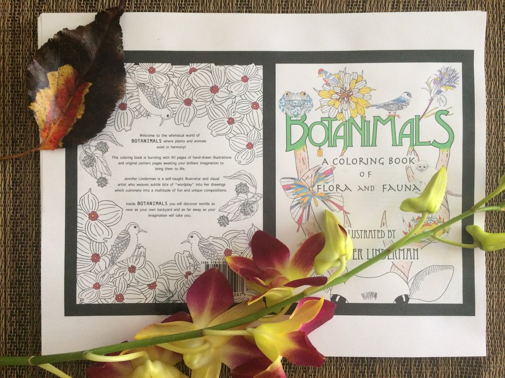 This is my cover image before I receive the proof in the mail next week. It is a coloring book for all ages including all of my own hand-drawn images of nature, namely animals and plants/flowers. There is an underlying wordplay theme throughout making whimsical connections between animals and accompanying botanic names. It has truly been a labor of love taking me 5 months to complete and having had to learn much about self-publishing. My book will be available on Amazon very soon and I cannot believe it is actually happening. Now the marketing fun begins!