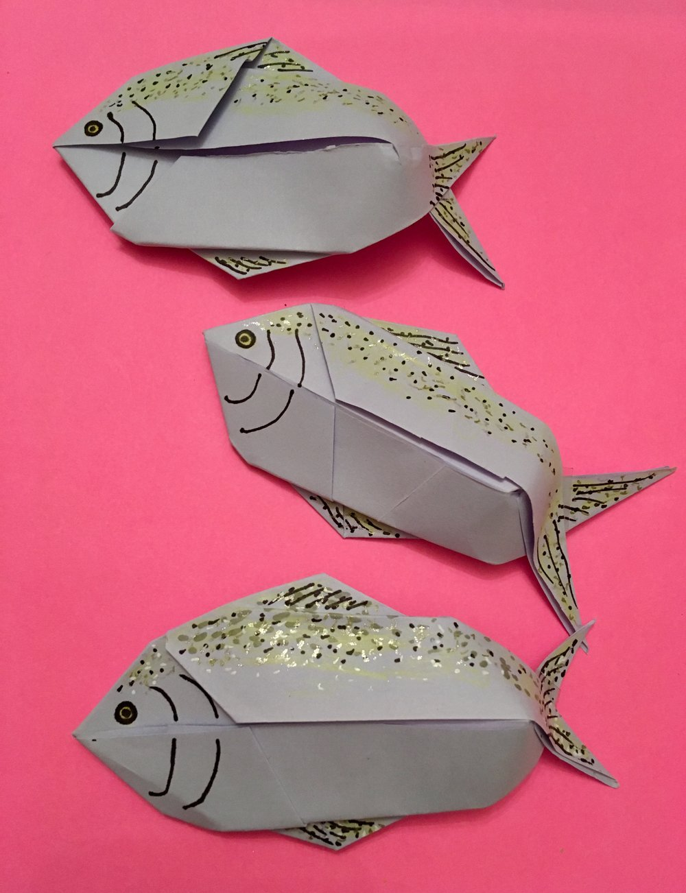 Origami salmons for the Salmon Run project!
