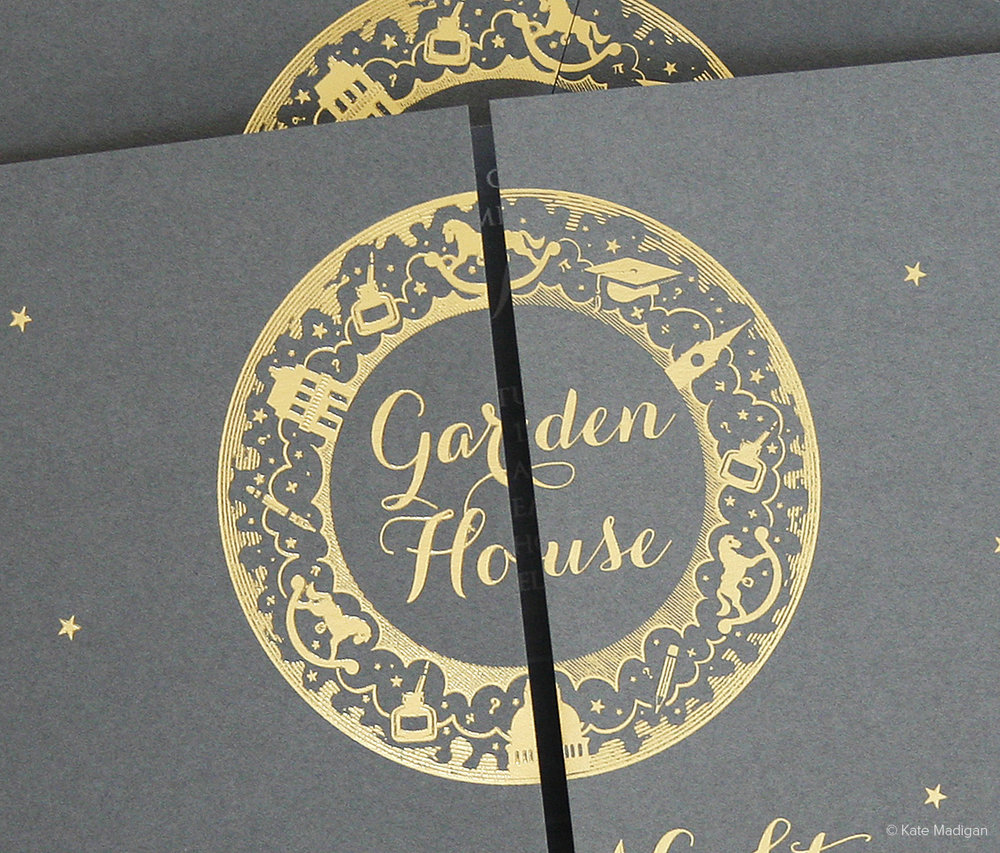 Foiled invitation for Garden House School. Gold foil on grey card. Rocking horses, ink bottles, pencils, stars, clouds, mortar board, London landmarks, Big Ben, St Paul's Cathedral, town house, mathematical symbols, question marks. Copyright Kate Madigan.