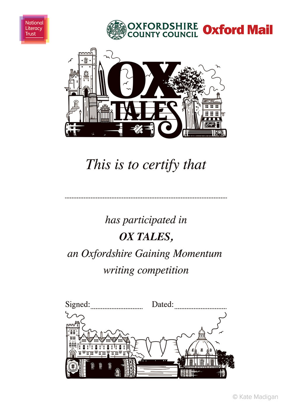 Participants' certificate design for the National Literacy Trust, featuring Oxfordshire landmarks (Carfax Tower, cafes, Brasenose College, Didcot Power Station, the Radcliffe Camera, a canal boat  ), books, pens, pencils, a tablet computer or phone   and decorative typography  . Copyright Kate Madigan.