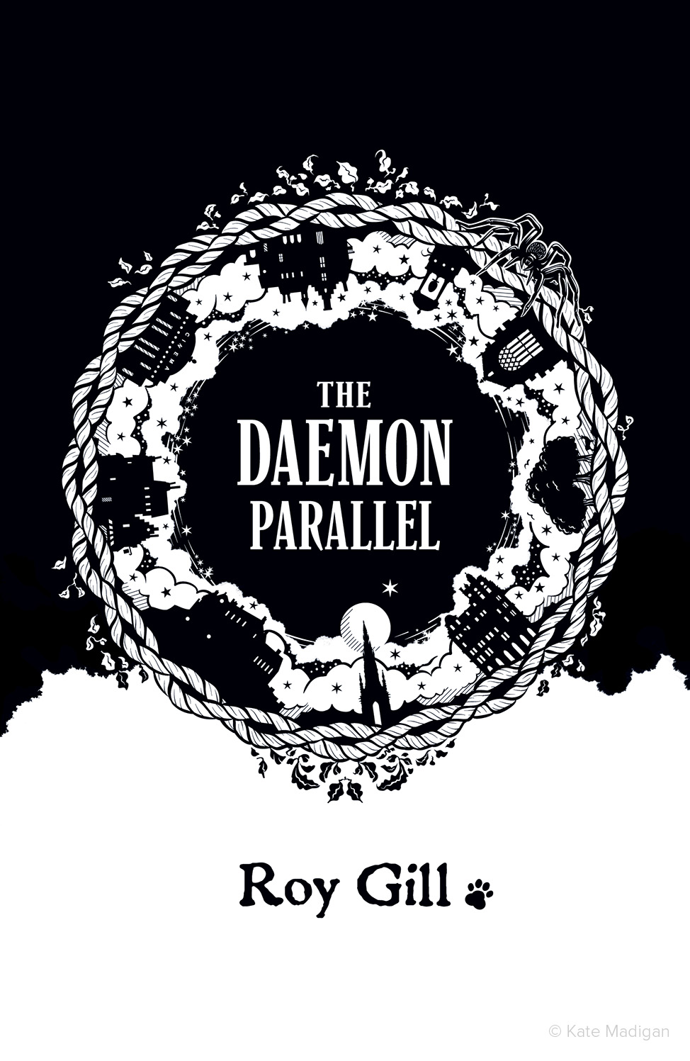 Imagined, alternative cover for Roy Gill's debut novel The Daemon Parallel, featuring motifs and locations from the book (twisted wool, ivy and vegetation, deer in a forest, the full moon, a spider, the Scott Monument in Edinburgh, Jenners Department Store, Edinburgh Castle, the Heave Awa' Hoose tenement building, an art deco cinema, a shop in the Old Town, St Bernard's Well, Holyrood Chapel, a paw print and a magical cloudscape).Illustration copyright Kate Madigan.
