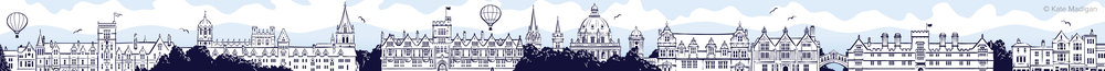 Illustrated web banner for Oxford International College depicting the Oxford city skyline. Left to right: Balliol College, Christ Church College, Brasenose College, University Church of St Mary, Lincoln College, the Radcliffe Camera, Queen's College, Trinity College, the Ruskin School of Art, the Bridge of Sighs (Hertford College), Wadham College, shops on Broad Street.  Copyright Kate Madigan.