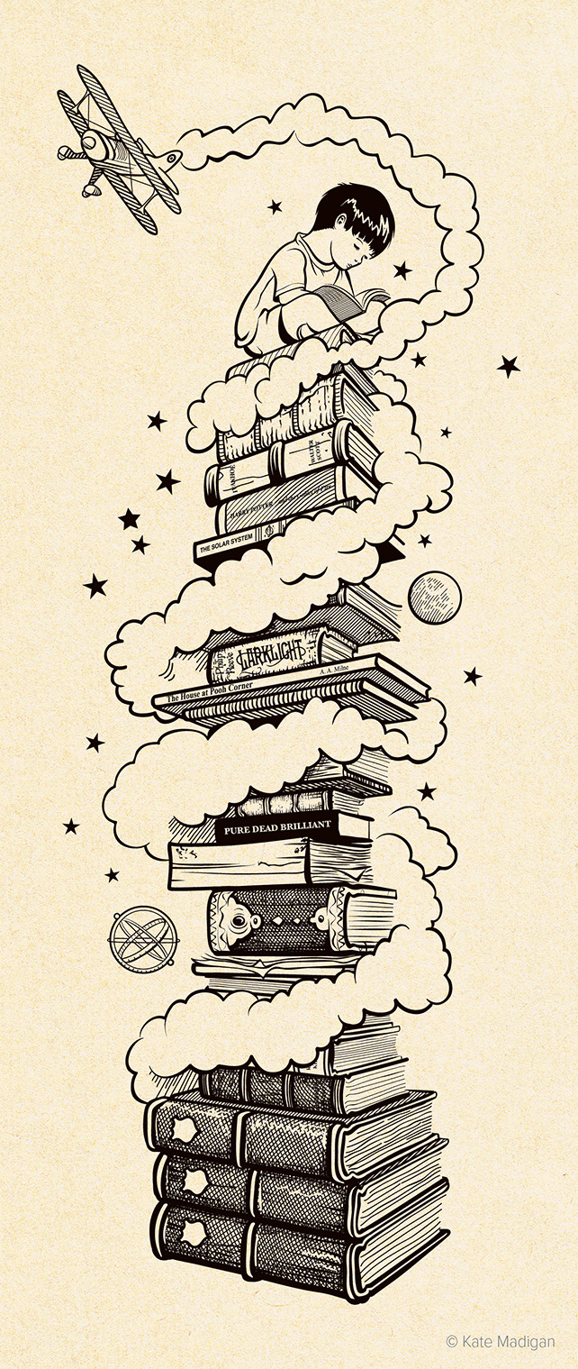 Illustration representing the children's department at Blackwell's Bookshop, showing a small boy sitting reading atop a huge tower of books old and new, some leather-bound, some tattered, some rare and valuable, including both modern and classic works. The tower is surrounded by an old-fashioned biplane, an astrolabe, an asteroid, clouds and stars. Copyright Kate Madigan.