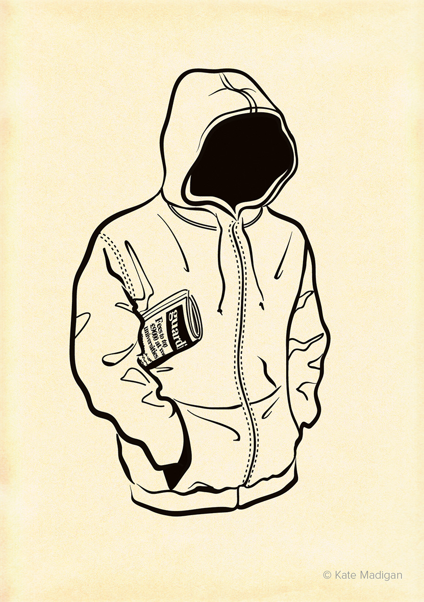 Drawing of an anonymous guy in a hoodie, hood up and hands in pockets against a cold day, with a crumpled copy of  The Guardian  tucked under his arm. Created as part of my solo exhibition at Blackwell's Bookshop. Line drawing on toned, distressed paper. Copyright Kate Madigan.