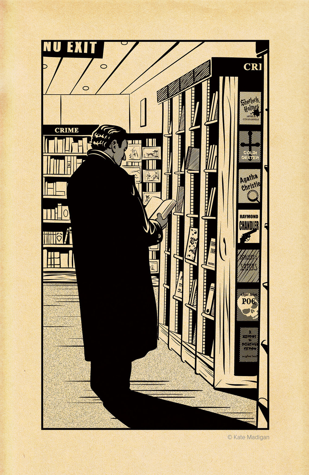 Drawing of a tough-looking, dark-haired man in an overcoat, collar turned up, lurking in the crime section of Blackwell's Bookshop, Oxford  . Classic works of detective fiction are displayed on the shelves. Created as part of my solo exhibition at Blackwell's Bookshop. Line drawing on toned, distressed paper. Copyright Kate Madigan.
