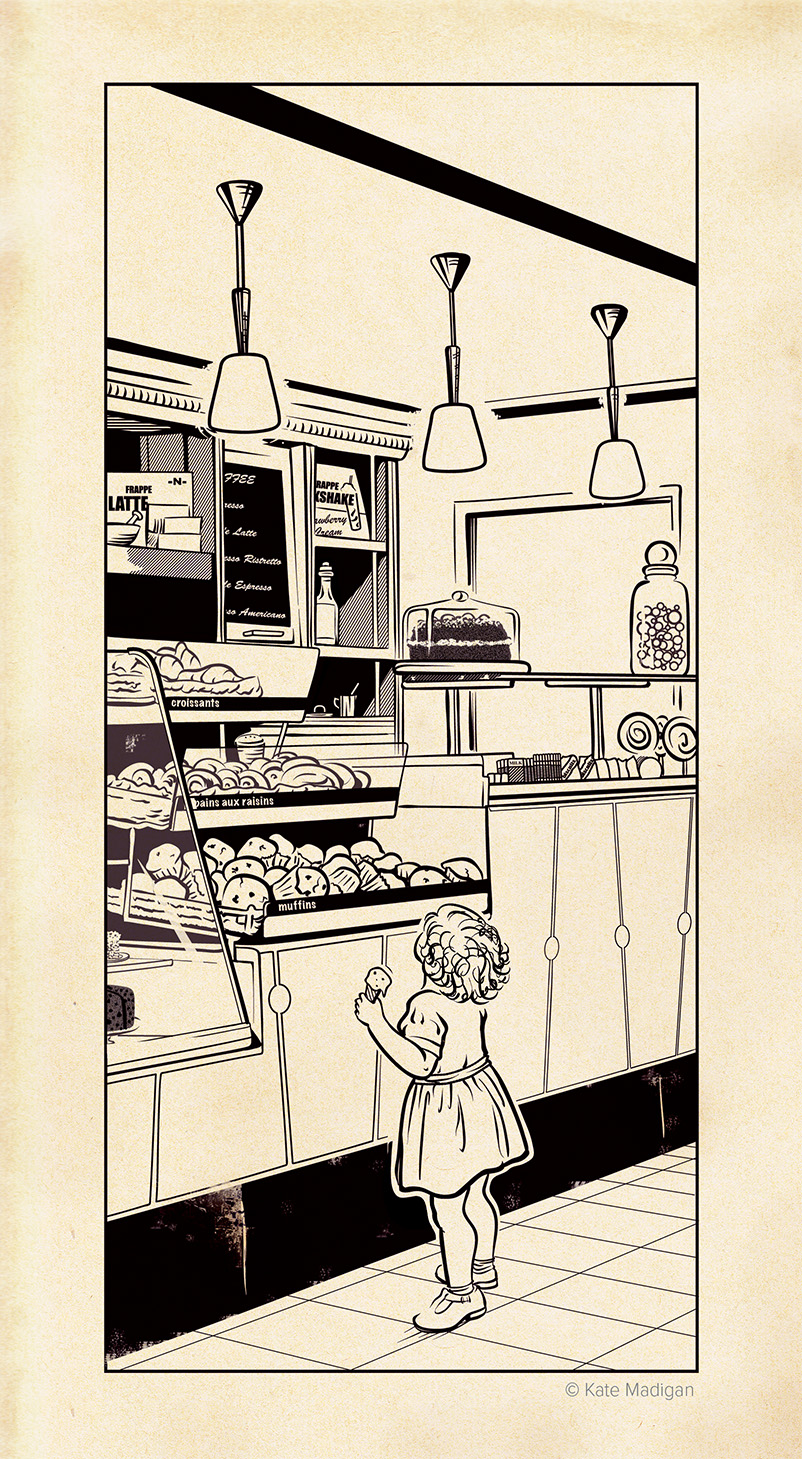 Line drawing showing a toddler clutching an ice cream cone gazing at the cakes and sweets on display at the Caffe Nero in Blackwell's, Oxford, and trying to make a selection. Created as part of my solo exhibition at Blackwell's Bookshop. Copyright Kate Madigan.