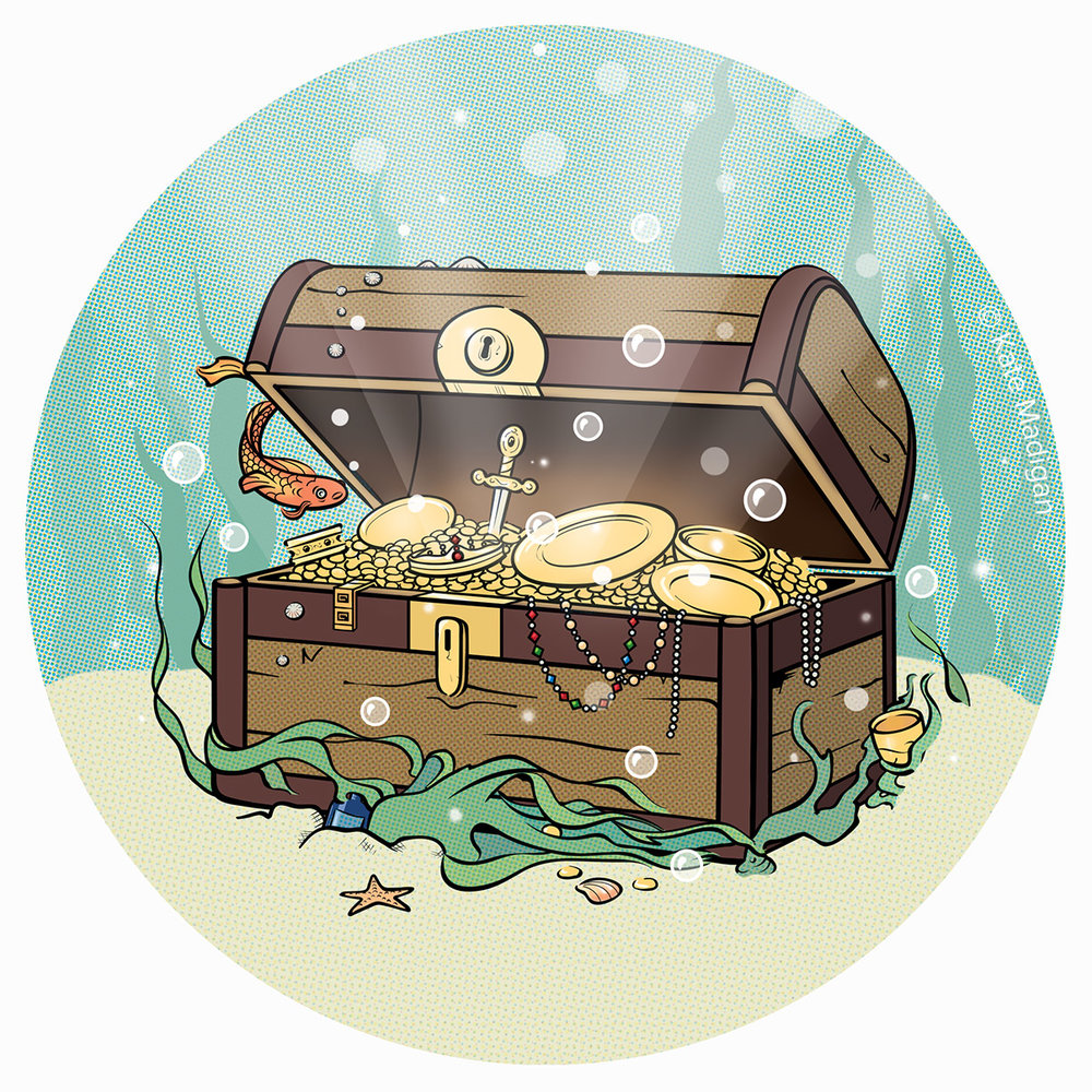 A barnacle-encrusted treasure chest amidst a forest of kelp and seaweed on the sea bed, bursting open to reveal golden plates and goblets, coins, a crown or diadem, a sword, and strings of jewels: pearls, rubies, diamonds, emeralds, sapphires. A koi carp looks on curiously.  Vectors and halftones. Illustration copyright Kate Madigan.