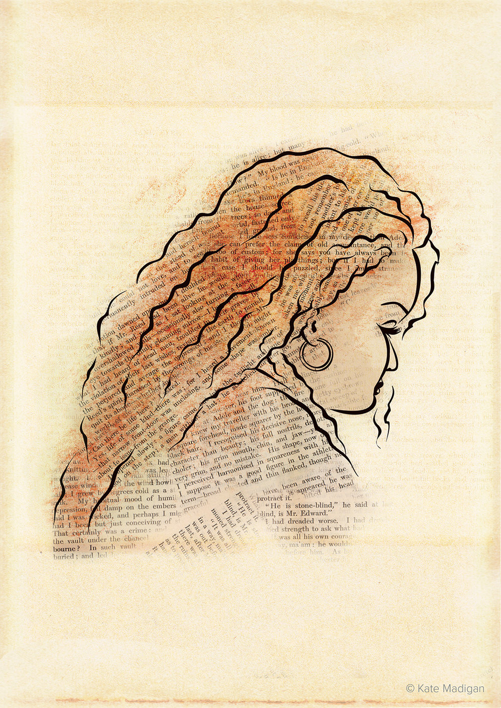 Line drawing of a red-haired woman absorbed in Charlotte Bronte's Jane Eyre. Passages from the book have been scanned in and used to shade her hair and clothing. Created as part of my solo exhibition at Blackwell's Bookshop Oxford. Copyright Kate Madigan.