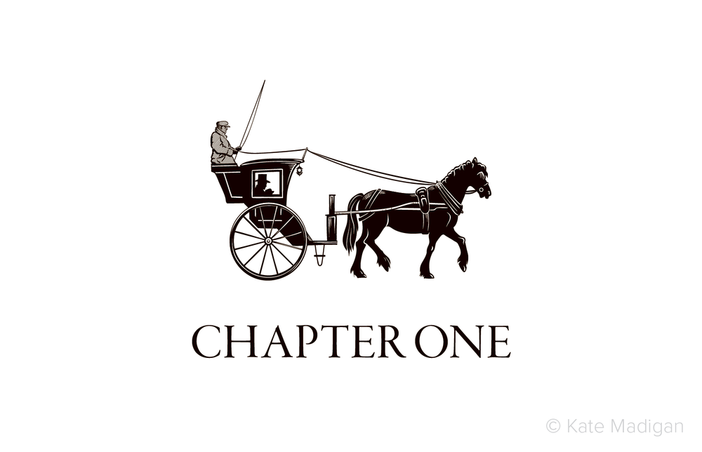 Black and white line drawing of a hansom cab (a horse-drawn cab) intended as a chapter vignette for Frances Hodgson Burnett's novel 'A Little Princess'. Copyright Kate Madigan.