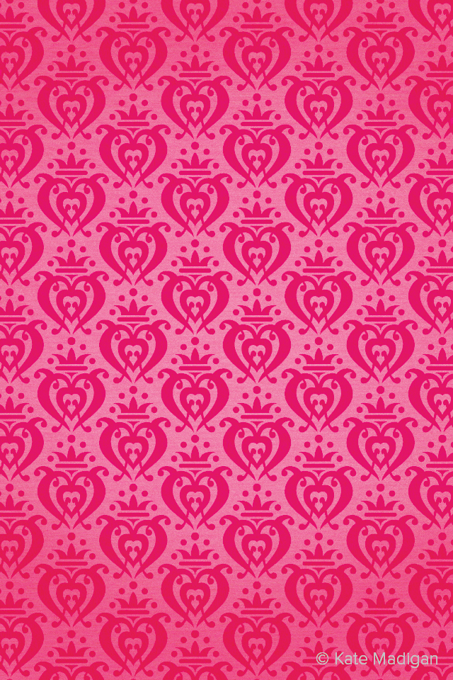 Rococo hearts iPhone wallpaper pattern