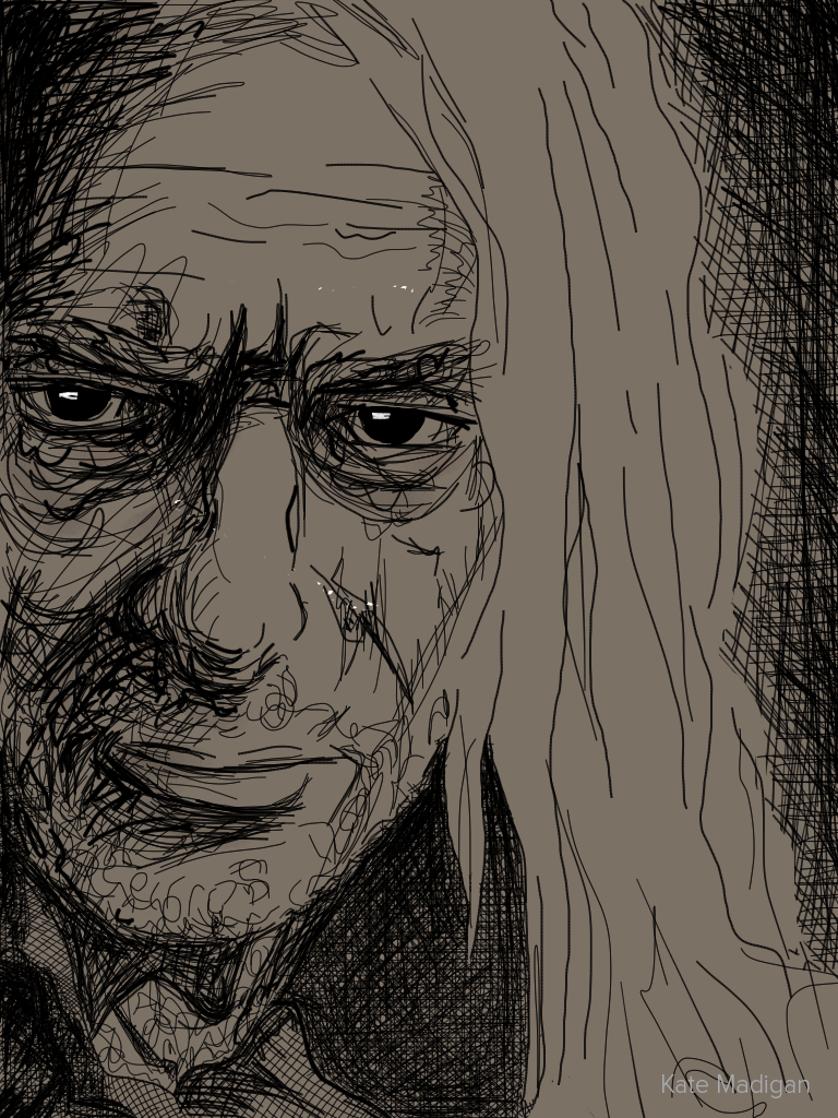 iPad sketch of  Lucius Malfoy in 'Harry Potter and the Deathly Hallows'. Bad hair day, bad Voldemort day. I don't own the character and I'm not making any money out of it.