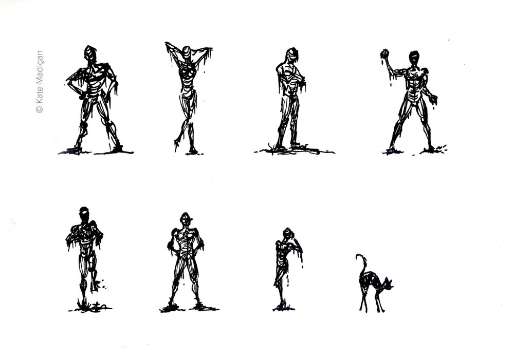 A particularly wet, wintry bootcamp inspired these little pen and ink sketches of zombies emerging from the mud.