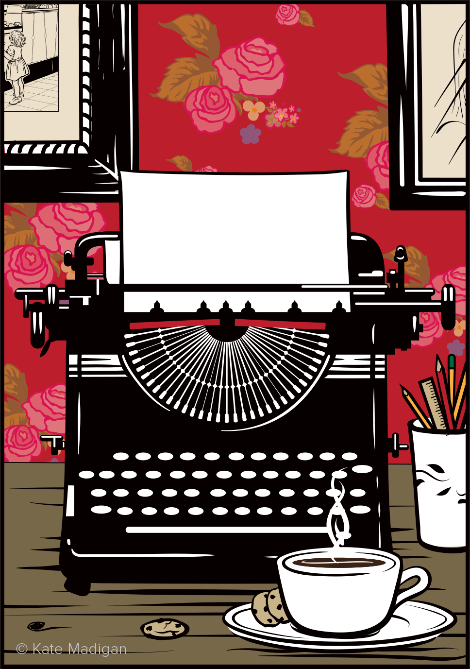 Drawing of an old-fashioned typewriter against a crimson floral wallpaper, with pens and pencils in a jar and a cup of tea and biscuits in the foreground. Copyright Kate Madigan.