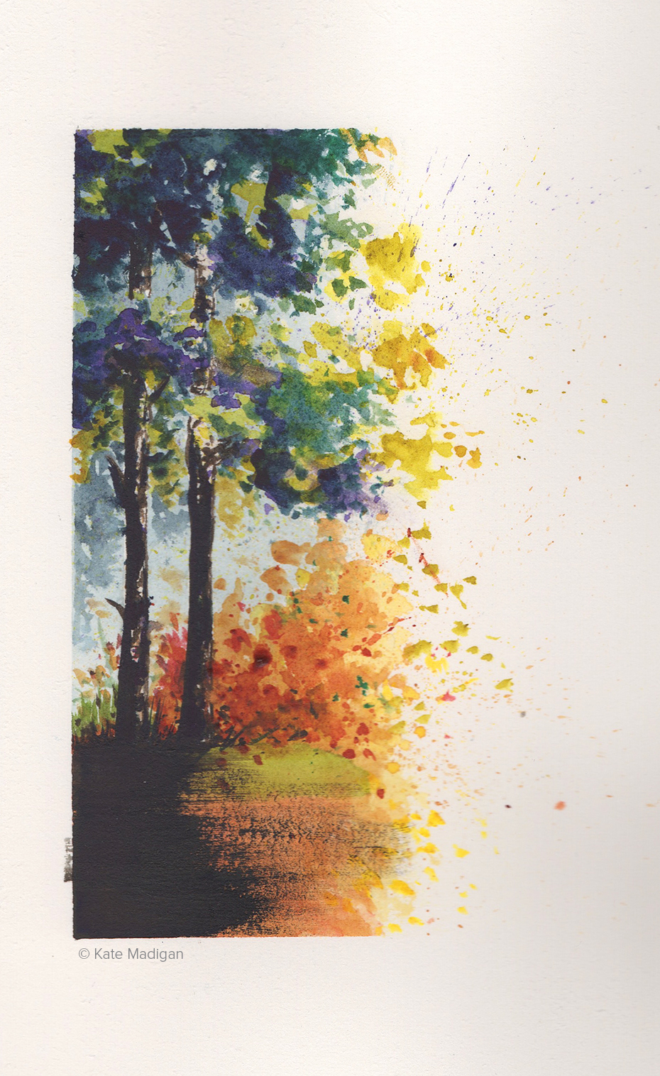 Early autumn.  Watercolour quick sketch.  .