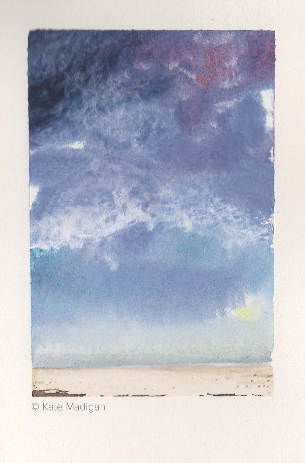Hebridean Beach. Tiny study in gouache and watercolour.