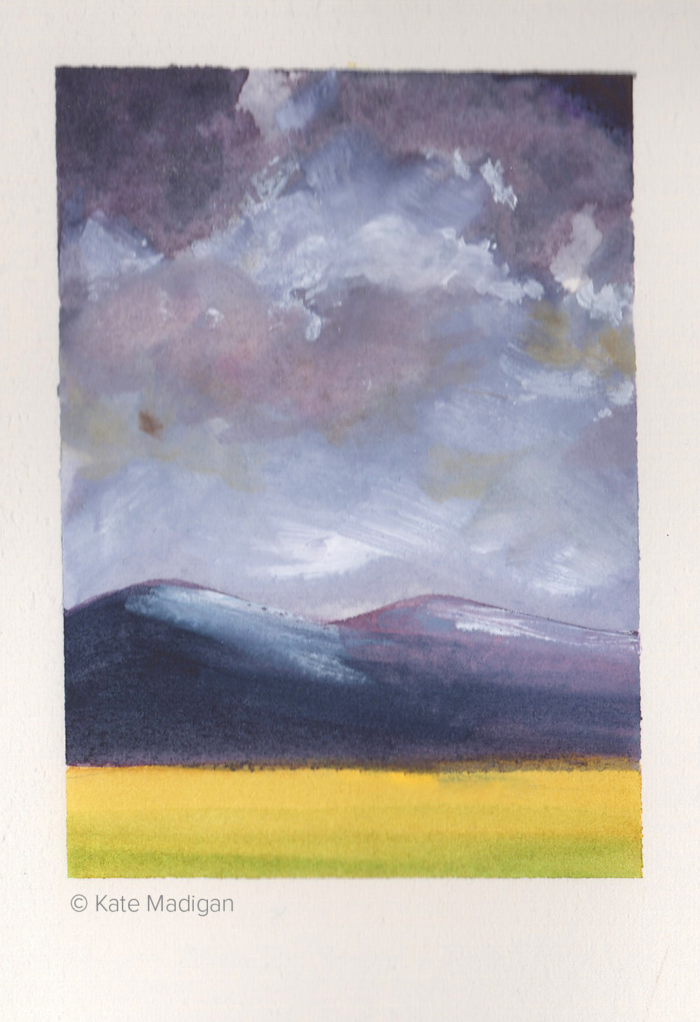 Glimpsed from the car near Blairdrummond. Quick sketch in watercolour and gouache.