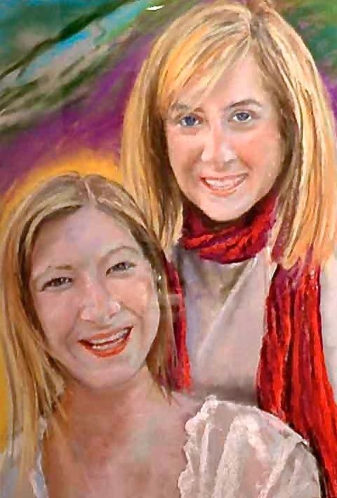MAUNEY SISTERS I - PASTEL ON PAPER