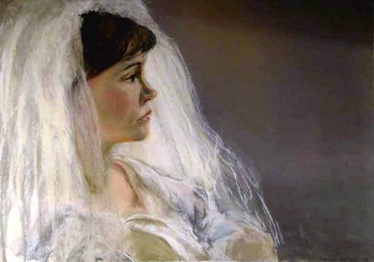 THE BRIDE - PASTEL ON PAPER