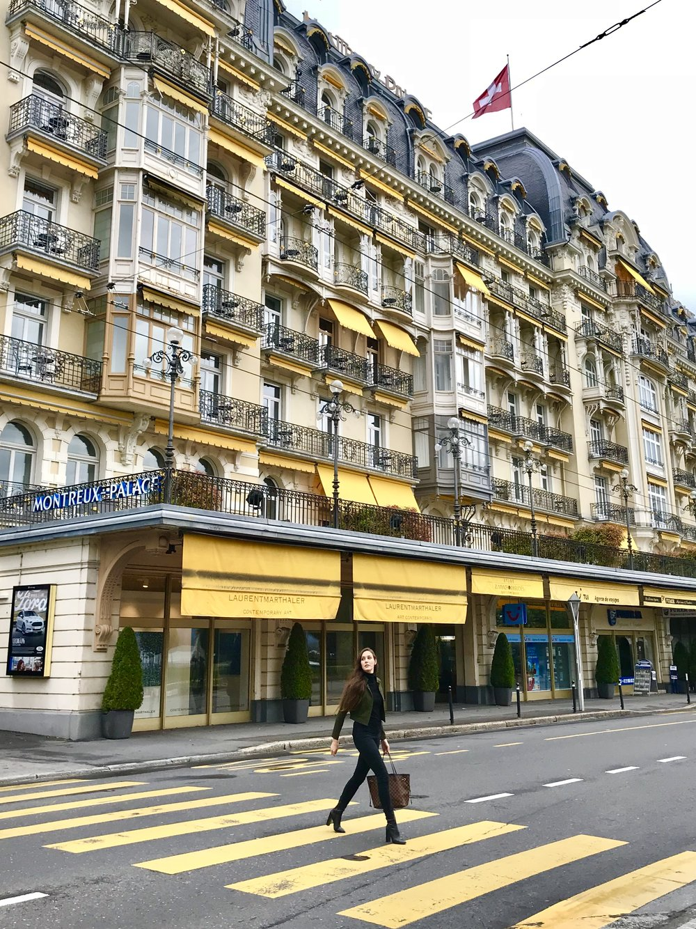 Exploring the streets of Montreux, Switzerland, in front of the Fairmont Montreux Palace