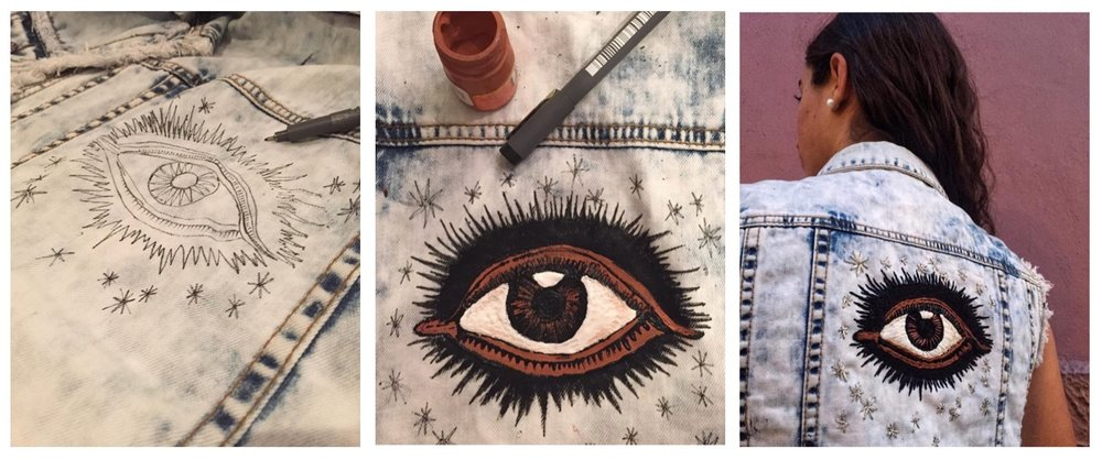 Each piece within the denim range is individually sketched, painted, and then embroidered, all by hand