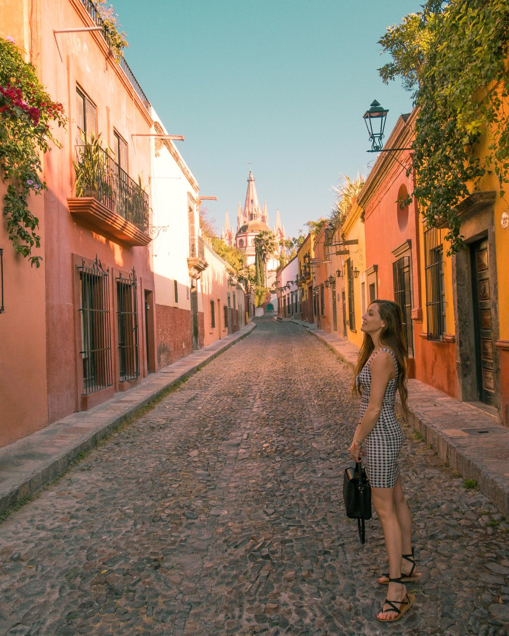 photo taken from Calle Aldama in San Miguel de Allende, visit early in the morning and the street will be empty!