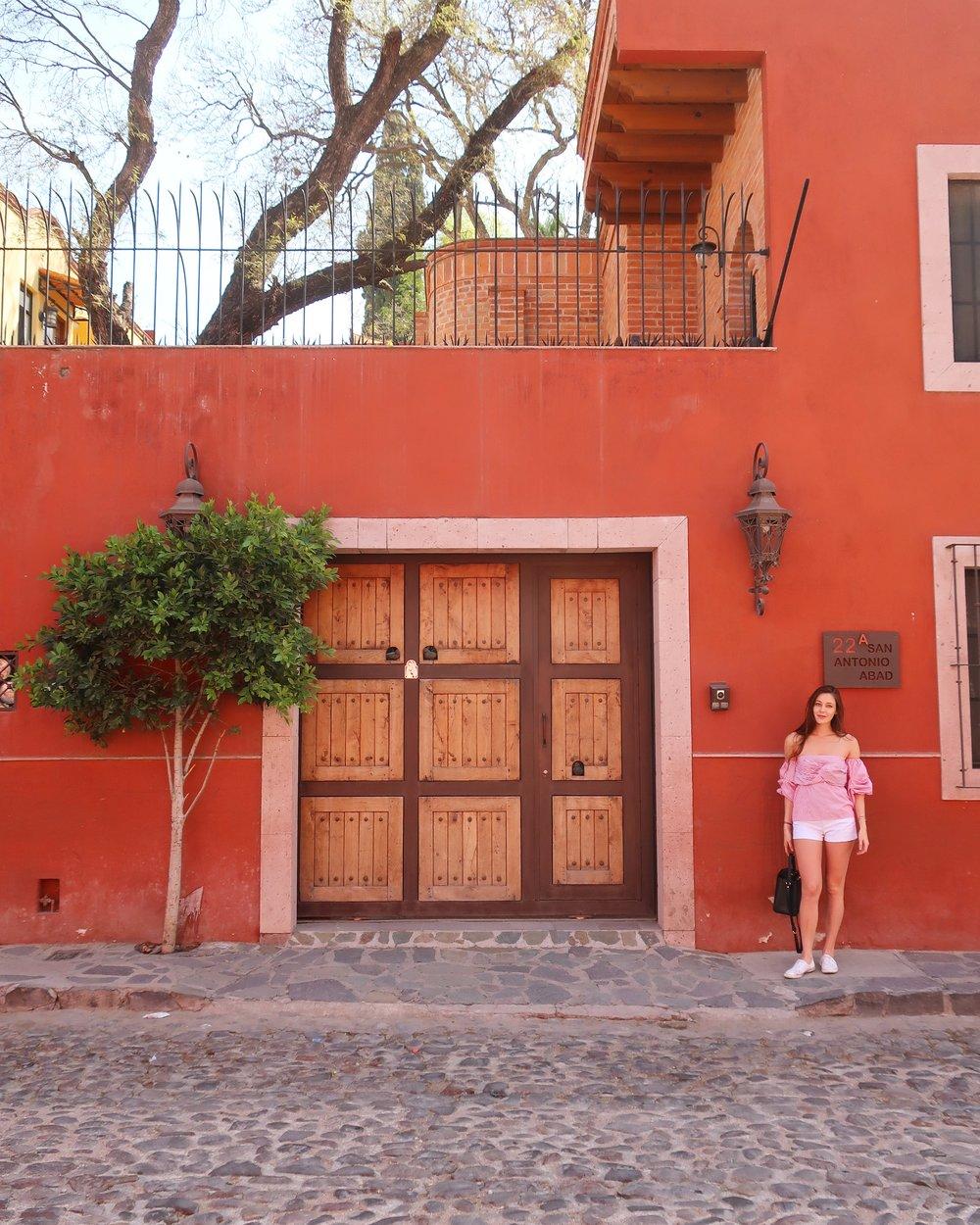 in front of casa paloma airbnb in san miguel de allende, mexico