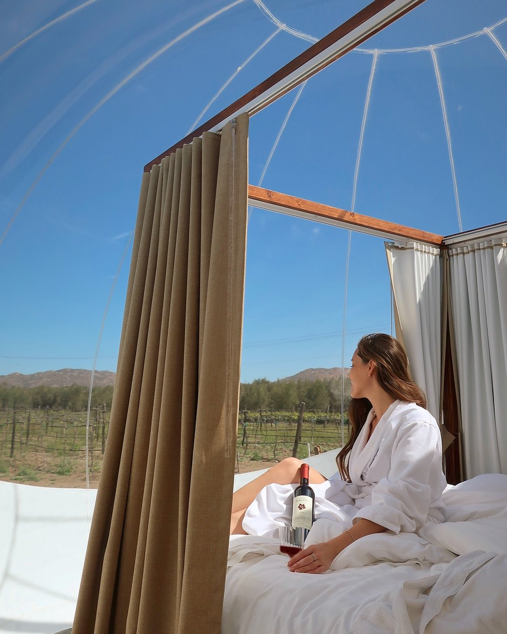 "Campera Hotel Burbuja has 10 ""bubble rooms and Suites"", allowing guests to connect to nature while admiring views of Valle de Guadalupe's vineyards."