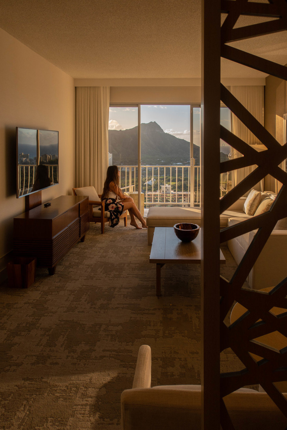 'Alohilani resort offers eastern facing views of diamond head crater. Shown here is the view from a suite on the 39th floor.