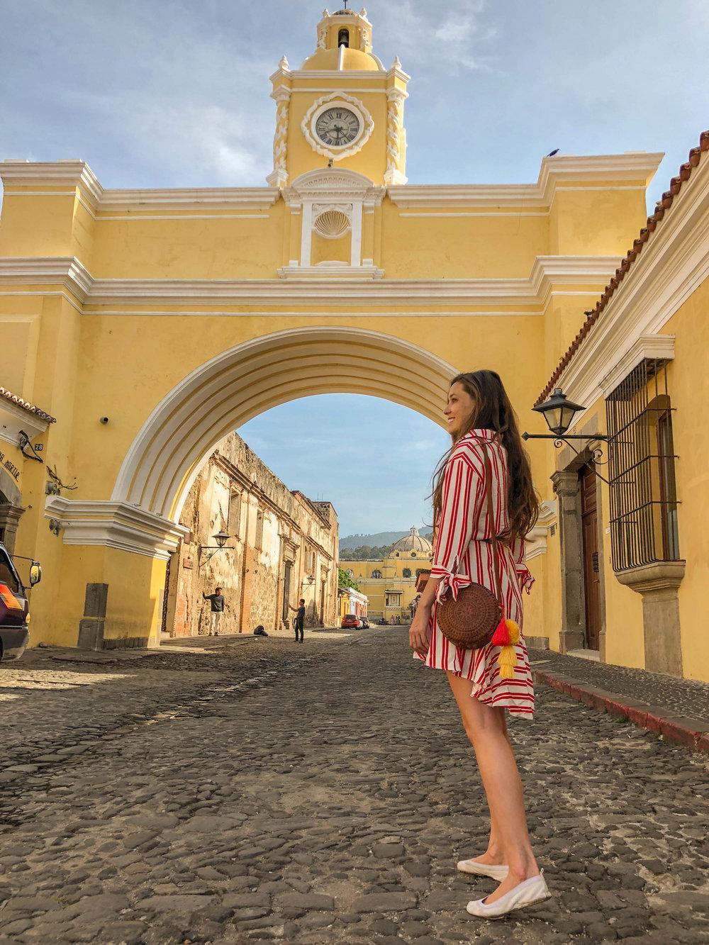 Carina Wears a Handmade Hiptipico Eclipse Crossbody bag in Antigua, Guatemala