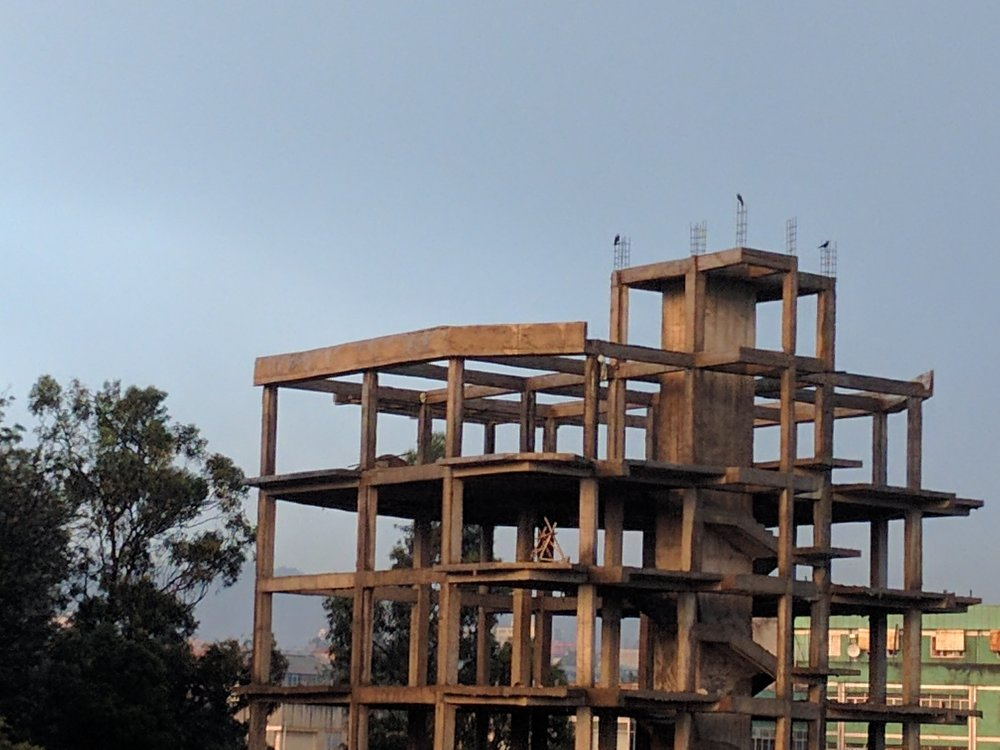 Construction is a constant - loved the birds on the top