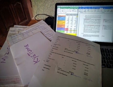 Working on the sustainability planning for Maranatha Integrated Schools Project – lots of data entry