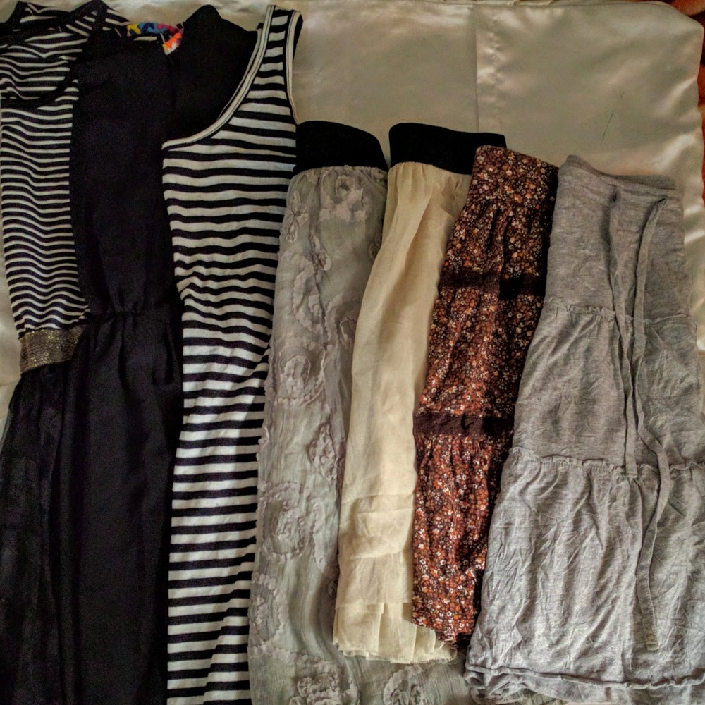 I packed only long skirts but it's been so hot! I picked up 4 skirts and two dresses for ~$12.