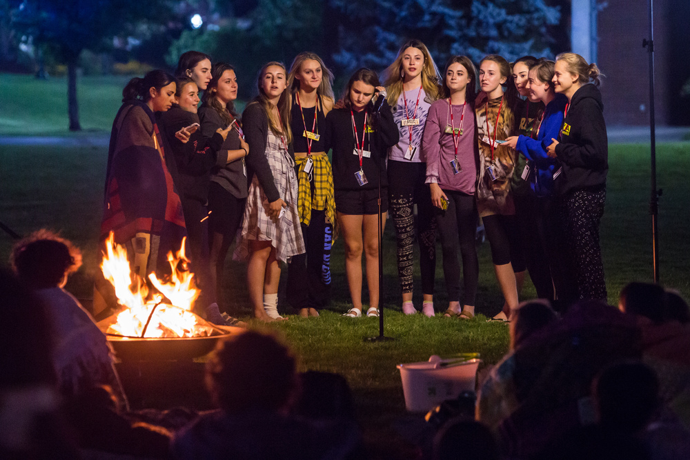Serenaded by the female counselors at campfire