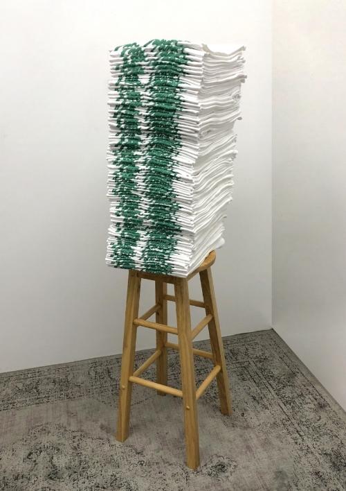 Townes Van Zandt. Bootleg   Bootleg Townes Van Zandt t-shirts, wooden stool, antique rug  5 x 8 x 4.5 feet, 2018