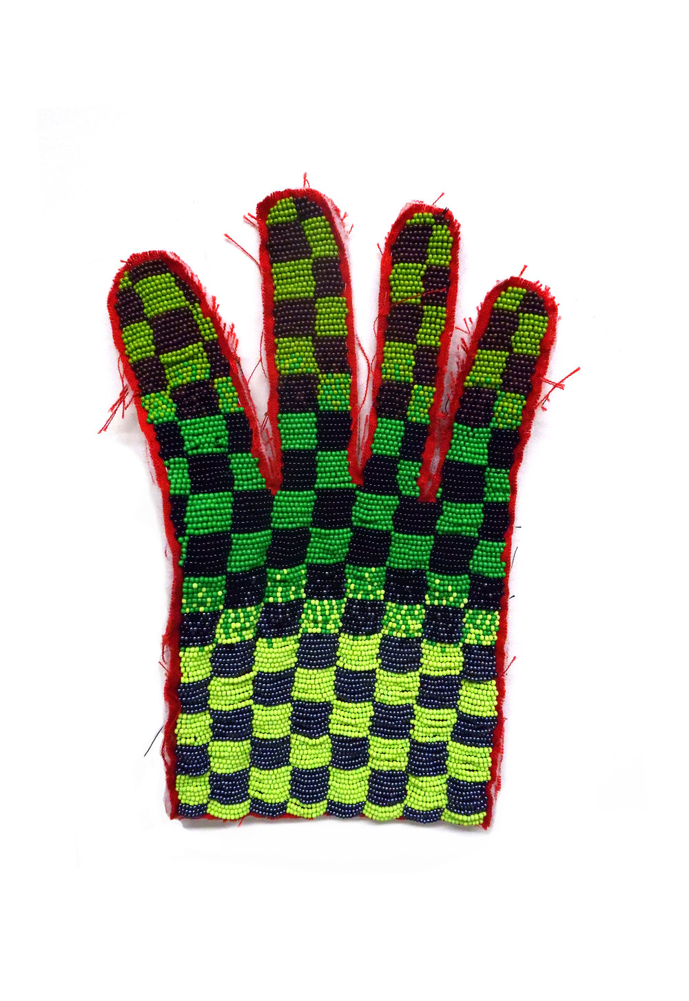 Ranchers Glove ( Work in progress)  Cotton, seed beads  *Actual size, 2018