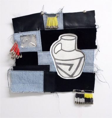 Vessel Painting   Denim, leather, furniture nails, safety pins, paper, graphite, seed beads, aluminum.  10 x 10.5 inches, 2018
