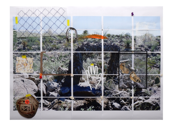 Archaeological Dig 02  Inkjet prints, furniture nails, acrylic, painters tape, clay paper, plastic envelope.  42.5 x 55 inches, 2018