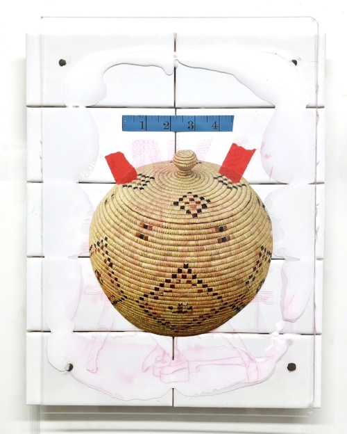 Woven Basket   Canvas, ceramic tile, measuring tape, giclee print, ink, painters tape, plexi glass.  20 x 16 inches, 2018