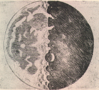 "Moon sketch by Galileo (early 1600's) ""It is a beautiful and delightful sight to behold the body of the Moon."""