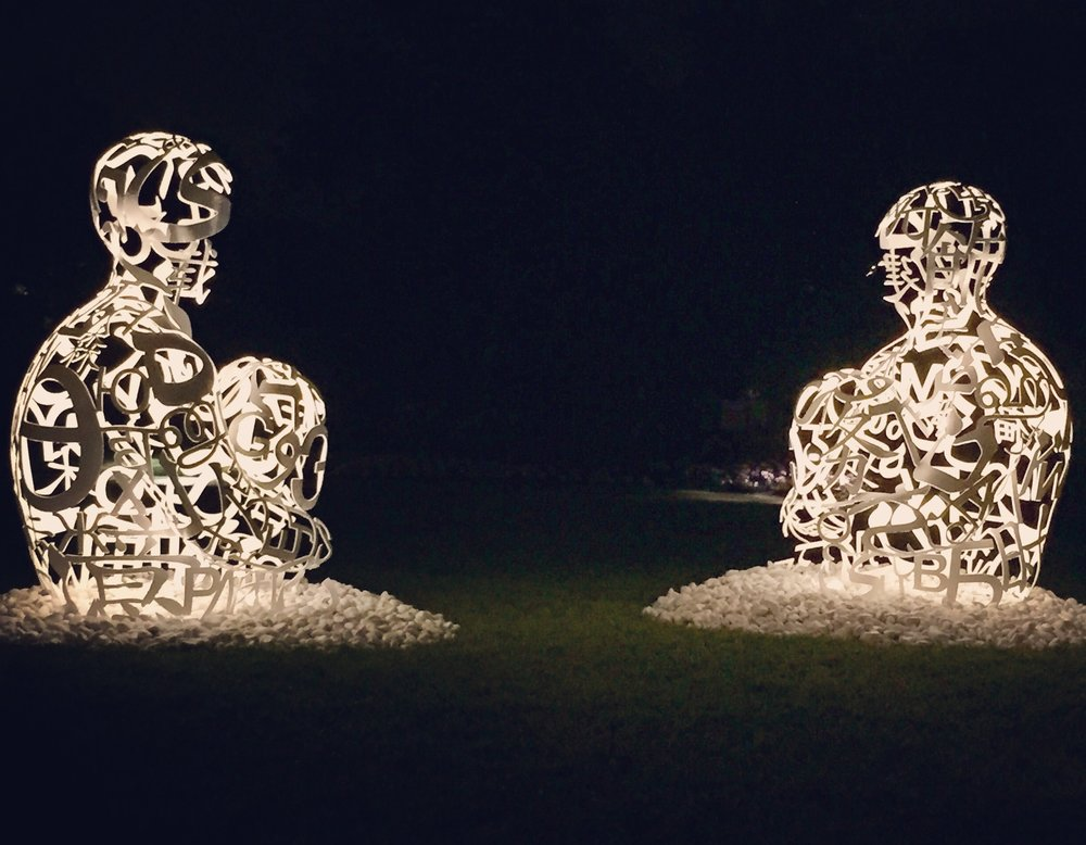Jaume Plensa,  The Soul of Words I & II,   2014, Painted stainless steel sculptures, Cheekwood Garden