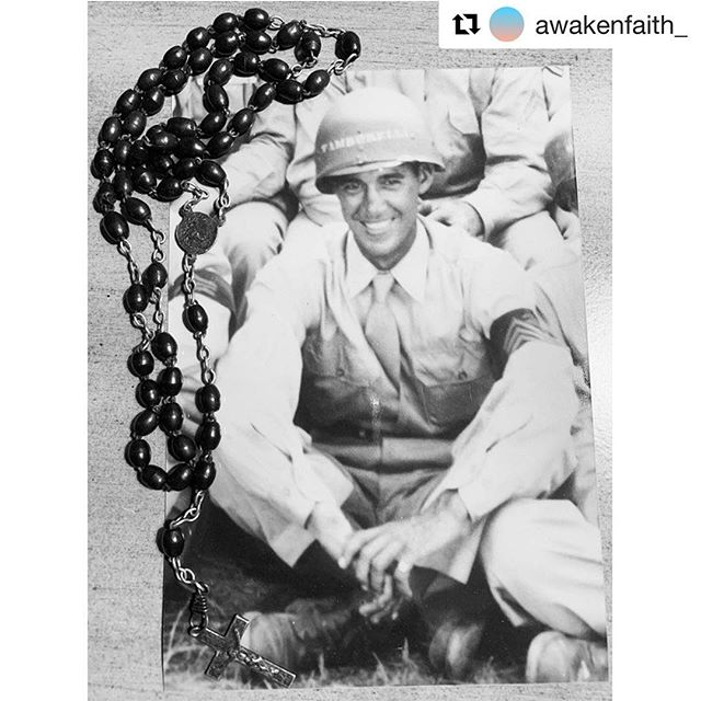 "#Repost @awakenfaith_  Follow us!!!! 💙・・・ ""The Holy Rosary is a powerful weapon.  Use it with confidence and you'll be amazed at the results."" St Josemaria Escriva  Thankful for all of our Veterans today and for the freedom they have won for us.This is a photo of Chris' Grandfather, Anthony S. Tamburelli and the rosary he had with him when he was killed in action in France, January 6, 1945.  God Bless America. Our Lady of the America's pray for us!"