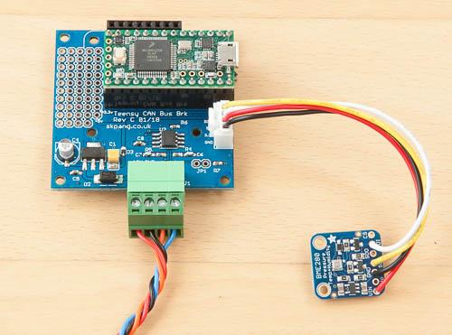 BME280 sensor connected to Teensy 3.2 via I2C.