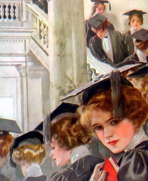 """Girl Scholars on Parade"" by Harrison Fisher (1875-1934). Fisher was an American artist and magazine illustrator who captured the ""Gibson Girl"" American style of beauty."