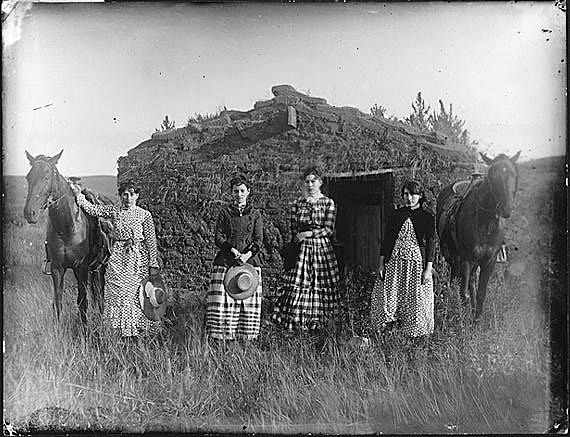 The Chrisman sisters, 1886. Lizzie Chrisman filed the first of the sisters' homestead claims in 1887. Lutie Chrisman filed the following year. The other two sisters, Jennie Ruth and Hattie, had to wait until they came of age to file. They both filed in 1892.