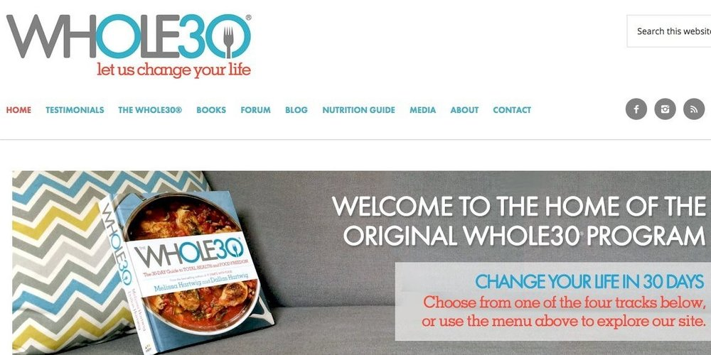Figure 1: The Whole30 website homepage.