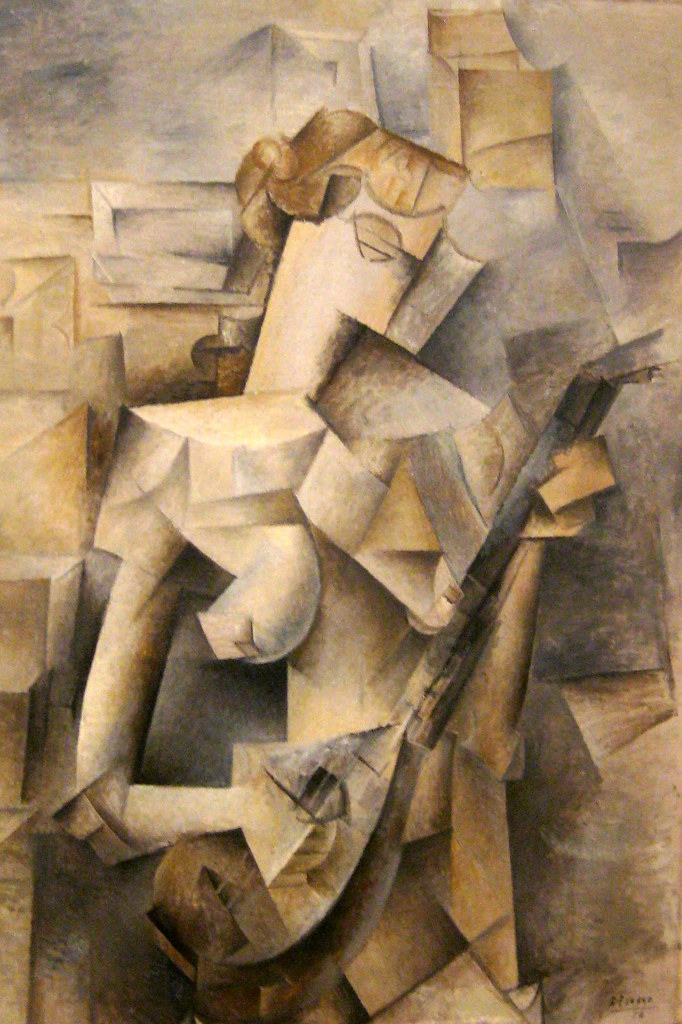 "Girl with a Mandolin (Fanny Teller), Paris, late spring 1910    Oil on canvas, 39 1/2 x 29"" (100.3 x 73.6 cm).    Pablo Picasso (Spanish, 1881-1973)"