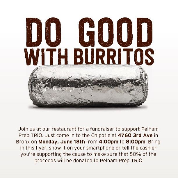 I NEED YOUR HELP!!! TAG SOME FRIENDS!!! Come this Monday 6/18/18 from 4-8 and BUY a Burrito!!! 50% will go to help send my kids to Washington DC!!!