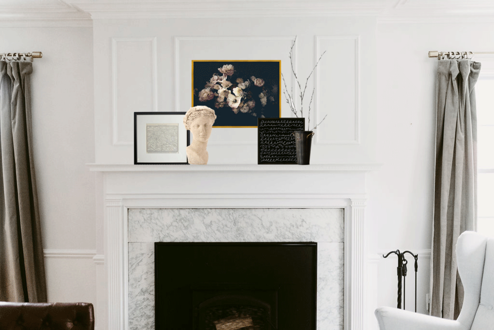 Last, but not least. The romantic mantel. I love how this iteration of the mantel just slows me down instantly. It's for moments of repose. Sit, and read in front of this mantel. Jane Austen preferably but whatever you fancy! Floral image, map, sculpture, vase, photo.